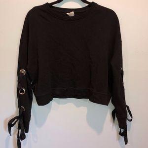 Black Grommet Lace-up Long Sleeve